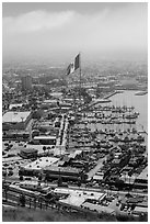 Harbor and giant Mexican flag from above, Ensenada. Baja California, Mexico ( black and white)