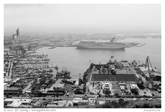 Harbor and cruise ship from above, Ensenada. Baja California, Mexico (black and white)