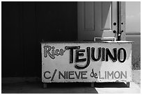 Sign at beachside food stand. Baja California, Mexico (black and white)