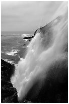 Tidewater blowhole, La Bufadora. Baja California, Mexico ( black and white)
