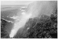 Jet of water blowing up 30 meters, La Bufadora. Baja California, Mexico ( black and white)