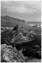 Bay, rocks, and kelp, La Bufadora. Baja California, Mexico ( black and white)