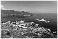 Bay, market, and blowhole visitor center, La Bufadora. Baja California, Mexico ( black and white)