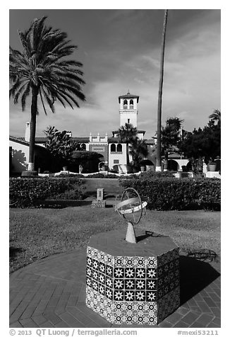 Patio gardens festooned with hand-painted tiles, Riviera Del Pacifico, Ensenada. Baja California, Mexico (black and white)