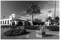 Riviera del Pacífico in Moorish-style architecture, Ensenada. Baja California, Mexico ( black and white)