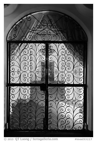 Elaborate grillwork inside Riviera Del Pacifico, Ensenada. Baja California, Mexico (black and white)