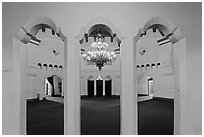 Looking into casino room, Riviera Del Pacifico, Ensenada. Baja California, Mexico ( black and white)