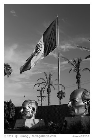 Plaza Civica with giant busts of Mexican heroes, Ensenada. Baja California, Mexico (black and white)
