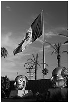 Plaza Civica with giant busts of Mexican heroes, Ensenada. Baja California, Mexico ( black and white)