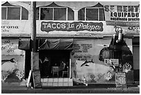 Fish taco restaurant, Ensenada. Baja California, Mexico ( black and white)