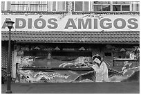 International mural decor, Ensenada. Baja California, Mexico (black and white)