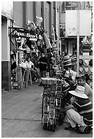 Souvenirs stands on sidewalk, Ensenada. Baja California, Mexico ( black and white)