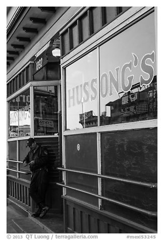 Hussongs Cantina and guard, Ensenada. Baja California, Mexico (black and white)