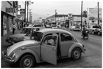 Street and Wolswagen bug, Ensenada. Baja California, Mexico ( black and white)