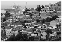 Houses on hillside above harbor, Ensenada. Baja California, Mexico (black and white)