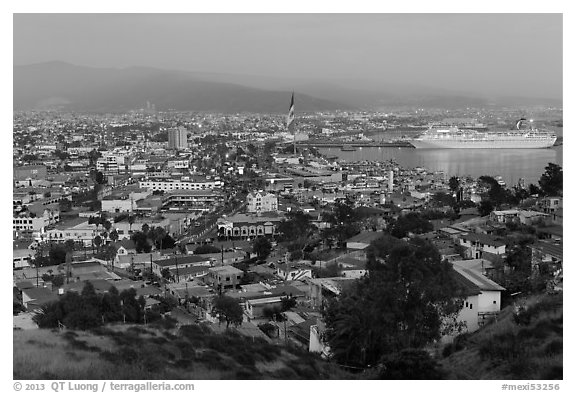 Ensenada and harbor at dusk. Baja California, Mexico (black and white)