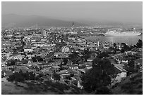 Ensenada and harbor at dusk. Baja California, Mexico ( black and white)