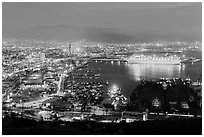 Harbor at night from above, Ensenada. Baja California, Mexico ( black and white)