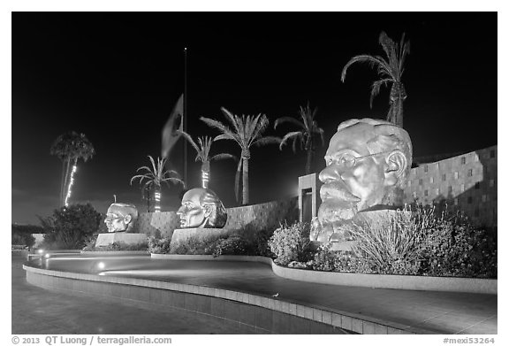 Monumental heads of Benito Juarez, Miguel Hidalgo and Venustiano Carranza, Ensenada. Baja California, Mexico (black and white)