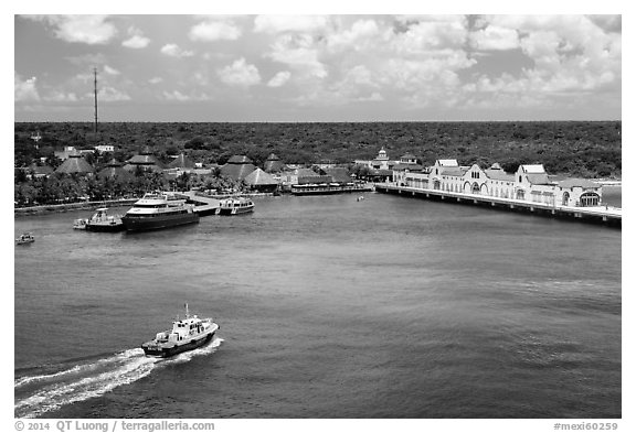 Cruise ship harbor, Puerta Maya. Cozumel Island, Mexico (black and white)