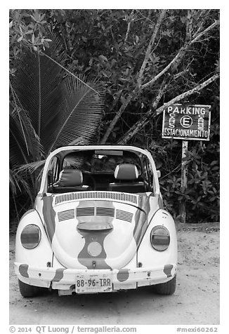 Volkswagen beetle. Cozumel Island, Mexico (black and white)