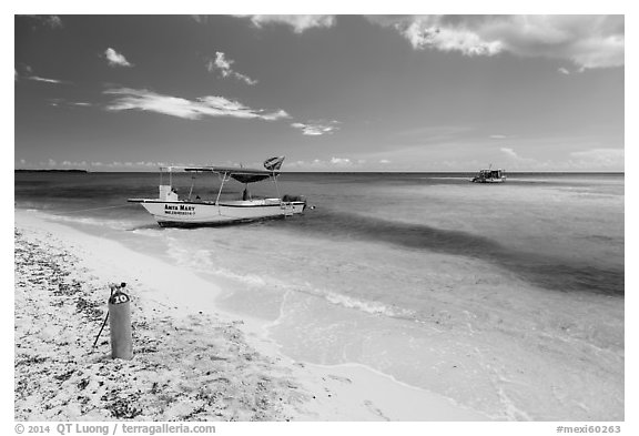 Dive boats and beach. Cozumel Island, Mexico (black and white)