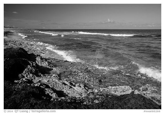 Rocky shoreline near Punta Sur. Cozumel Island, Mexico (black and white)