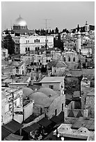 Old town rooftops and Dome of the Rock. Jerusalem, Israel (black and white)