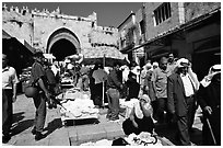 Street market inside the old town next to the Damascus Gate. Jerusalem, Israel ( black and white)