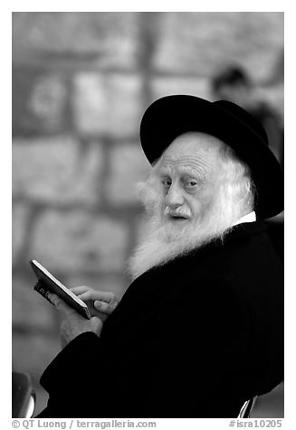 Elderly orthodox jew, Western (Wailling) Wall. Jerusalem, Israel (black and white)