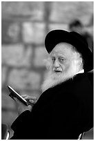 Elderly orthodox jew, Western (Wailling) Wall. Jerusalem, Israel ( black and white)
