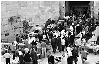 Crowds outside Damascus Gate. Jerusalem, Israel ( black and white)
