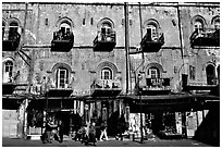 Facade of old townhouse. Jerusalem, Israel ( black and white)