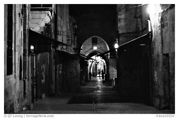 Black and white picture photo old street and arches by night jerusalem israel