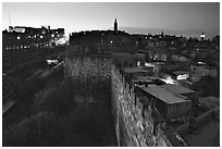 Old town remparts at dusk. Jerusalem, Israel (black and white)