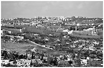 Old town skyline with remparts and Dome of the Rock. Jerusalem, Israel ( black and white)