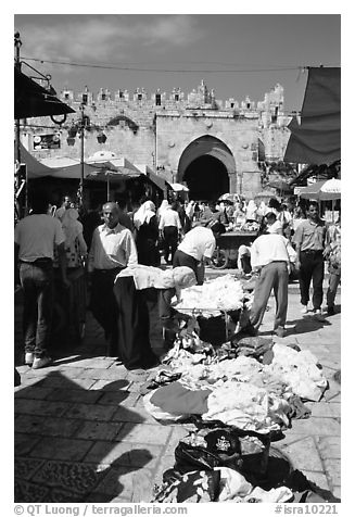 Street market inside the old town next to the remparts. Jerusalem, Israel (black and white)