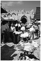 Street market inside the old town next to the remparts. Jerusalem, Israel ( black and white)