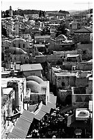 Crowded streets and roofs of the old town. Jerusalem, Israel ( black and white)