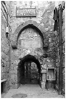 Prison of Apostle Peter. Jerusalem, Israel (black and white)