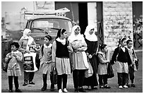 Muslem women and girls, East Jerusalem. Jerusalem, Israel ( black and white)