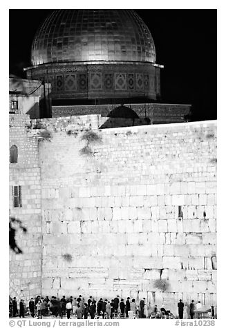 Western (Wailling) Wall and Dome of the Rock at night. Jerusalem, Israel (black and white)