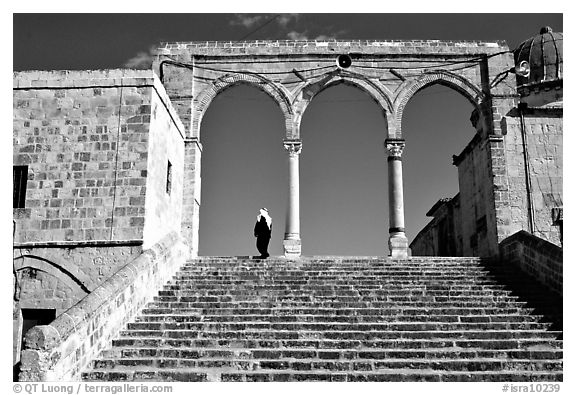 Arches on the entrance of the Dome of the Rock. Jerusalem, Israel (black and white)