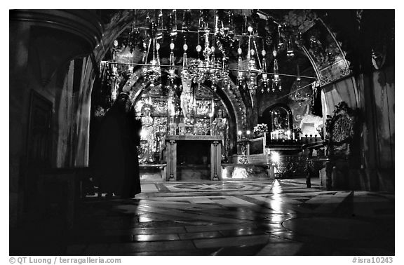 Decorated chapel inside the Church of the Holy Sepulchre. Jerusalem, Israel (black and white)