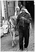 Arab man leading a donkey, Hebron. West Bank, Occupied Territories (Israel) (black and white)