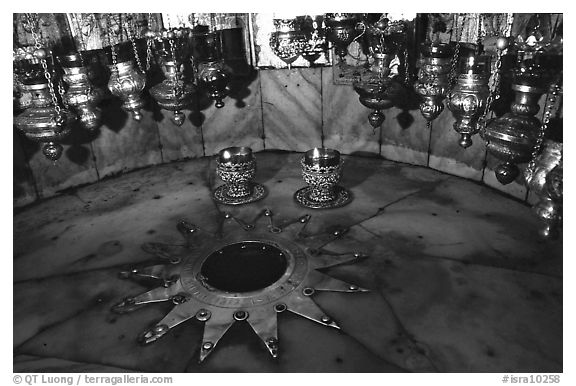 The nativity star in the Church of the Nativity, Bethlehem. West Bank, Occupied Territories (Israel)