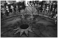 The nativity star in the Church of the Nativity, Bethlehem. West Bank, Occupied Territories (Israel) ( black and white)