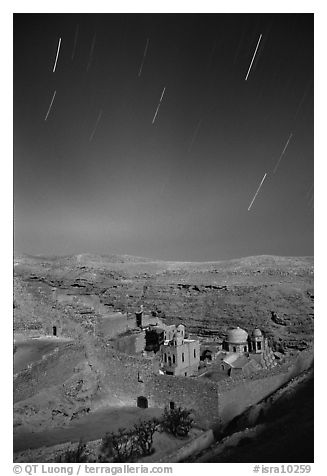 Star trails above the Mar Saba Monastery. West Bank, Occupied Territories (Israel)