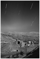 Star trails above the Mar Saba Monastery. West Bank, Occupied Territories (Israel) (black and white)