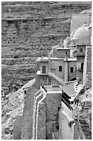 Blue dome of the Mar Saba Monastery. West Bank, Occupied Territories (Israel) (black and white)